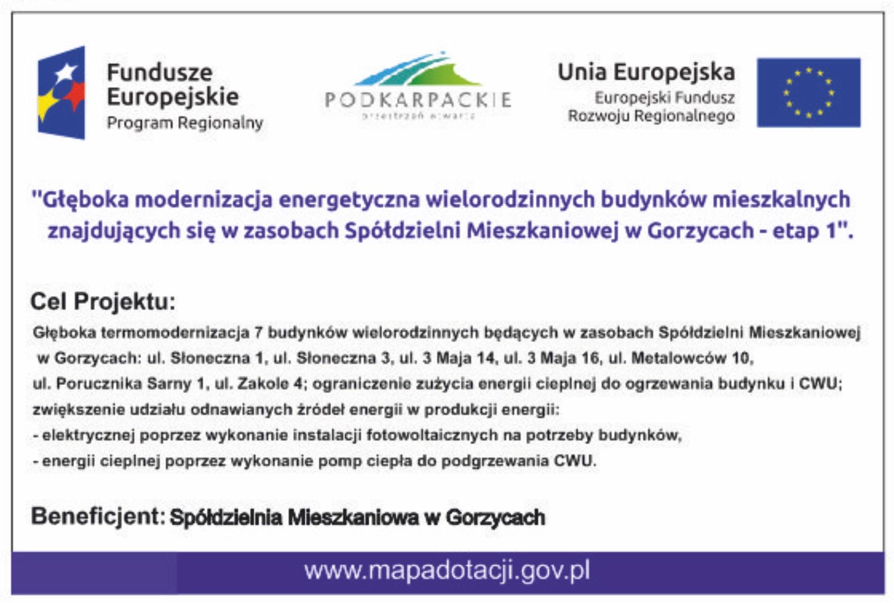 Głęboka modernizacja energetyczna wielorodzinnych budynków mieszkalnych znajdujących się w zasobach Spółdzielni Mieszkaniowej w Gorzycach – etap 1